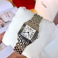 square silver-colored analog watch with link bracelet Toronto
