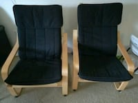 two beige frame black seat poang chairs Farmington, 48335