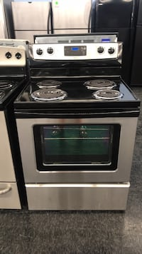 black and gray electric coil range oven Toronto, M3J