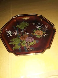 Japanese 6 sided plate Handpainted and gold trim. Worcester, 01610