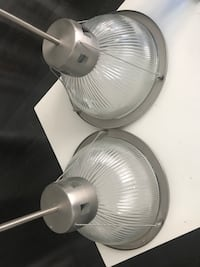 Industrial brushed nickel pendant lighting.  Came from Toronto industrial loft.  Perfect for kitchen island.  $50 each or both for $75 or best offer. Thank You.  In perfect condition