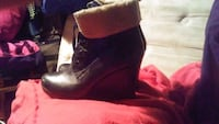 pair of black leather boots Calgary, T2B 2C7