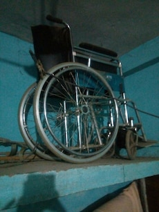 black folding wheelchair