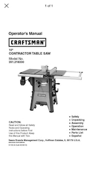 10inch craftsman table saw   Frederick, 21704