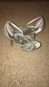 pair of gray leather open toe ankle strap heels Garner, 27529