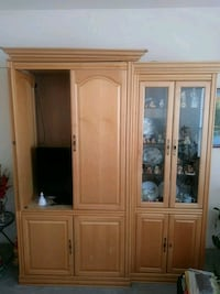 brown wooden framed glass display cabinet Rio Rancho