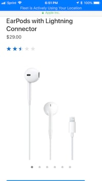 *LIKE NEW* iPhone 8 headphones and usb cable. AUTHENTIC APPLE Miami Beach