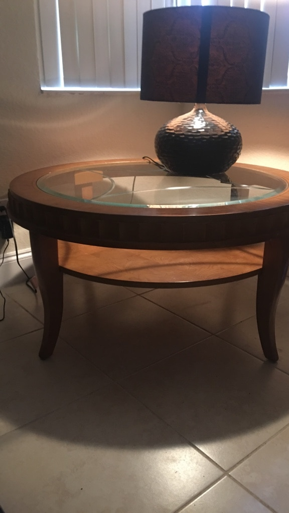 Tommy Bahama Coffee Table W/ Glass Top. Perfect Condition. Solid Wood