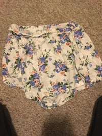white, blue, and green floral shorts