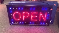 red and purple Open LED sign Merrimack, 03054