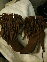 brown leather fringe leather boots Rancho Cordova, 95670