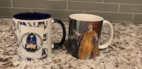 two white-and-blue ceramic mugs Herndon, 20171