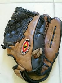 brown and black catching mitts