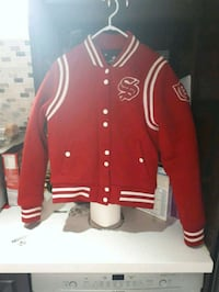 Red and white unisex varsity jacket