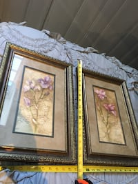 Pair of floral pictures in solid wood frames St Paul