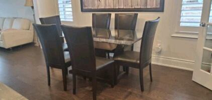 6 Dining Chairs & Glass Top Dining Table