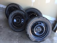 PRACTICALLY BRAND NEW SET OF WINTER TIRES with steel rims FOR SALE. $650 FIRM. Caledon, L7C 4A1