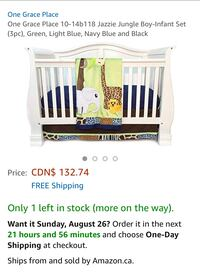 New, unused... One Grace Place Jazzie Jungle Boy Crib Set St Thomas, N5R 6M6