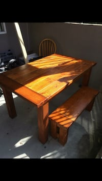 Rectangular brown wooden table and bench brand new hand made with warranty  Coquitlam, V3B