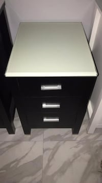 "18"" Side Cabinet Storage Unit in Black Finish with Glass Countertop Fairfax"