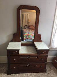 Amazing antique dresser with gorgeous marble step down top Two large drawers and two petite ones. Place it in Dining Rm, Foyer, Living Rm. Bedroom, Bathroom  Berwyn Heights, 20740