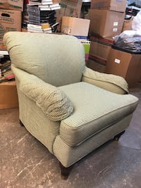 Green Quilted Diamond Pattern Armchair (Two front legs the nails are striped) Garland