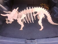 Large 3 Foot Triceratops Wooden Dinosaur Model