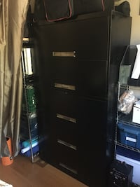 Five drawer black filing cabinet 541 km