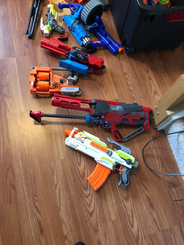 red and blue Nerf gun