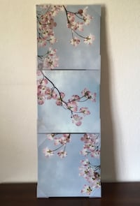 3-Piece Blue and Pink Blossoms Canvas Wall Art Pictures Home Decor