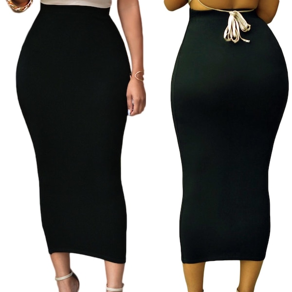 c6bc28c6fb Used XS small long pencil tight black maxi skirt formal evening for ...