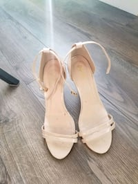 pair of white leather open toe ankle strap heels Calgary, T3M 2C6