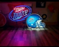 LARGE Neon Miller Light NFL Football