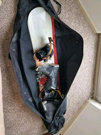 6ft+ adult snowboard with size 11.5 boots and bag