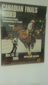 Autographed and framed Tom Eirikson 1985 CFR poster  Edmonton, T5A