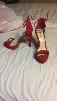 pair of red open-toe ankle strap heels Los Angeles, 90044
