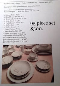 Noritake China service setting for 12 w/ serving dishes