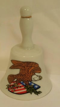 white bald eagle and U.S.A. flag printed ceramic hand bell Amarillo