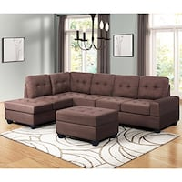 Bargain Harper & Bright Designs 3 Piece Sectional Sofa Microfiber with Reversible Chaise Lounge Storage Ottoman and Cup Holders Need to see - Charming - Different - SCOTTSDALE