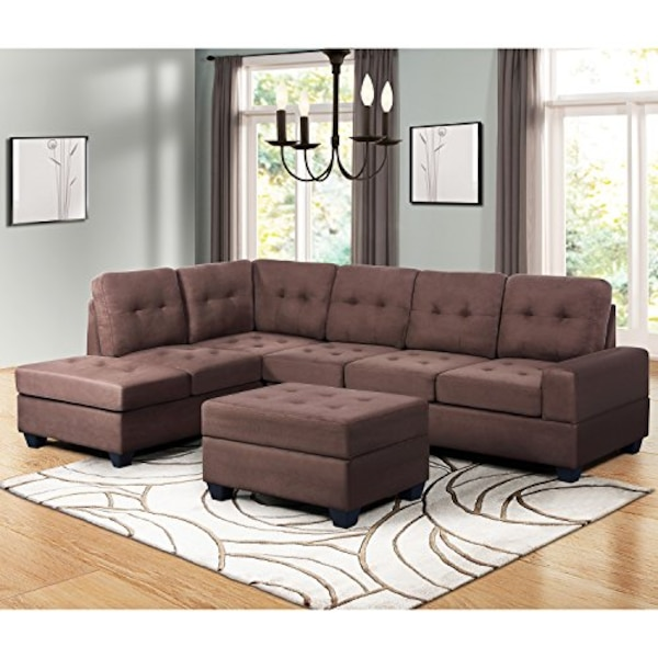 Bargain Harper & Bright Designs 3 Piece Sectional Sofa Microfiber with  Reversible Chaise Lounge Storage Ottoman and Cup Holders Need to see -  Charming ...