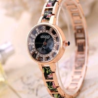 Floral Pattern Leather Band Stainless Steel Rinest London, N6P 0E2