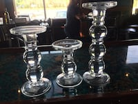 two clear glass candle holders Charlotte, 28216