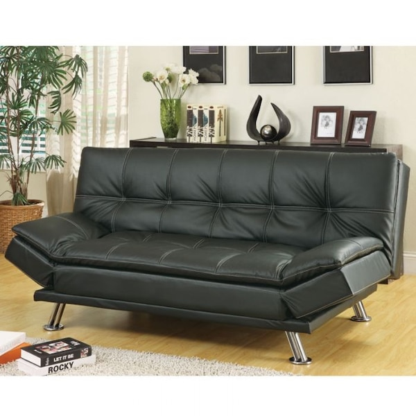 Coaster Home Furnishings Dilleston Convertible Futon Sofa Bed Black Faux Leather New