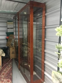 brown wooden framed glass display cabinet Camillus, 13031