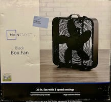 "MAINSTAYS 20"" BOX FAN- BLK"