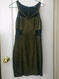 EXPRESS brand dress. Black and gold with mesh cutouts. Mississauga, L5V 2R4