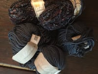 Missoni yarn, made in Italy, wool, acrylic, polyamid. blue/gray/green mix. 4 skeins, plus other yarn GAITHERSBURG