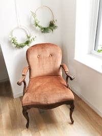 Armchair,vintage, wood, blush , velvet,old ,  shabby,farmhouse,antique