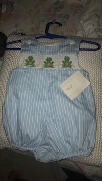 Baby's blue and white striped sleeveless onesie Fortson, 31808