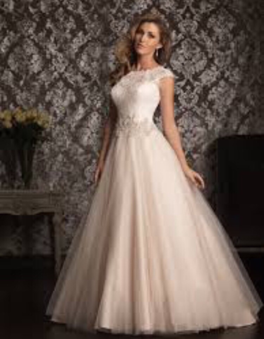 Used Wedding dress-Allure Bridals 9022- champagne, tulle, and ...